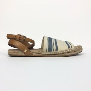 TORY BURCH Striped Blue ivory espadrille flats 9